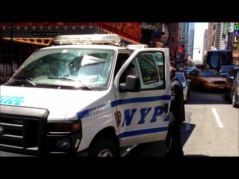 NYPD VAN CRASHES WITH MTA NEW YORK CITY TRANSIT BUS AT 42ND ST. & 7TH AVE. IN TIMES SQUARE, NYC.