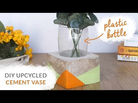 DIY Upcycled Cement Vase Using a Plastic Bottle | Concrete Room Decor | Curly Made