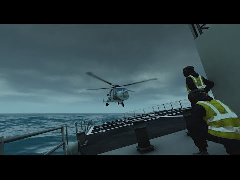 Arma3 Royal Navy Wildcat pilots practice landing on HMS Forth while moving in rough seas in Scotland