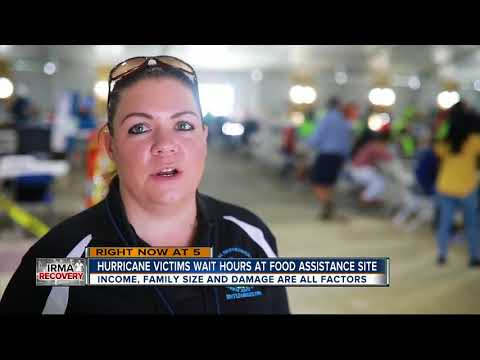 Hurricane Irma victims wait hours at food assistance site
