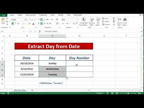 Formula to Extract Day Name from date in excel 2013|2016