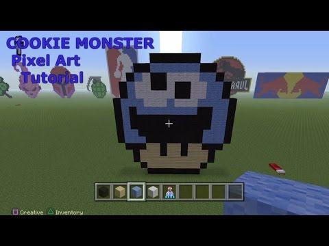 Minecraft Pixel Art - Cookie Monster Mushroom Tutorial
