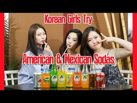 Korean Girls Try American and Mexican Sodas [Jarritos, Squirt, Root Beer, Cream Soda, etc]