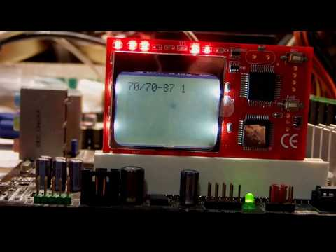 LCD showing intelligent debug card/ PCI interface