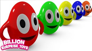 Funny Surprise Eggs Cartoons video for Children - Learn Colors 3D Animation Songs for Kids