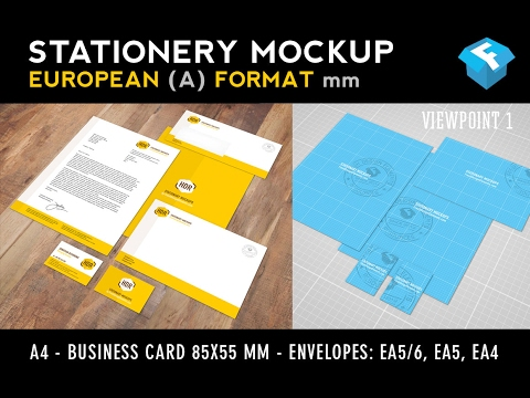 European A Format Stationery Mockup