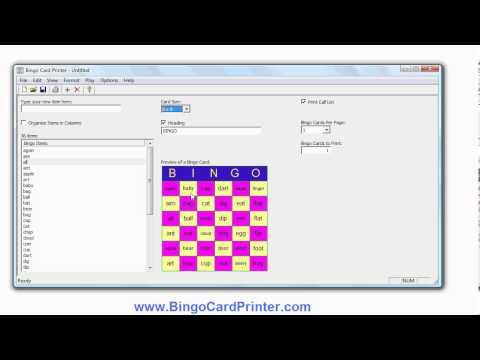 6x6 Bingo Card Maker Software - create 6 by 6 bingo cards using BingoCardPrinter.com
