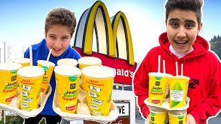 FANTA CHALLENGE 🥤 [McDonalds CODE] 🍟 2 Liter Fanta vs 2 Liter Eistee | CRASHBROS2