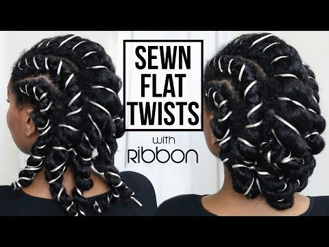 SEWN Flat Twists With Ribbon + Updo | Protective Style