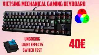 VicTsing Mechanical RGB Gaming Keyboard Unboxing, lighting, switch test