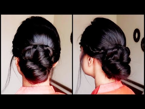 Quick Braided Bun with FRENCH LACE BRAID//indian wedding guest hairstyles for medium to long hair