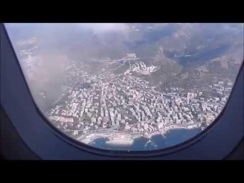 A320 Vueling windowview landing at Genova Cristoforo Colombo