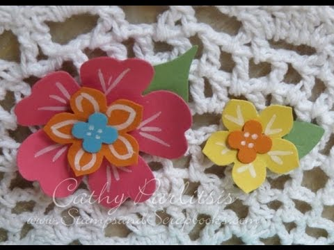 How to make Hawaiian Blossom Paper Flowers by StampsAndScrapbooksCathyP