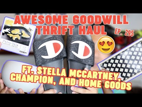 AWESOME GOODWILL THRIFT HAUL - FT. STELLA MCCARTNEY, CHAMPION, AND HOME GOODS    EP. 295