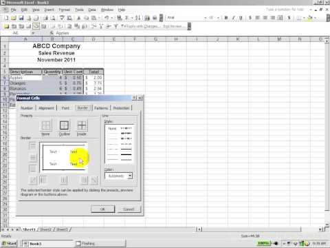 Excel 2003:  How to create a professional looking spreadsheet from scratch