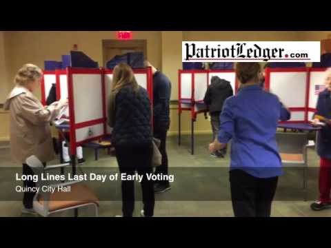 On the last day of early voting in Massachusetts, long lines fill Quincy City Hall for the chance to