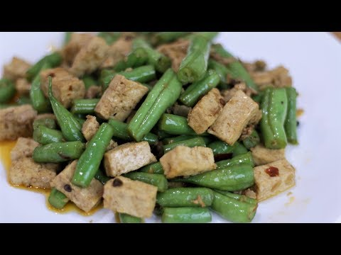 Tofu from scratch, beans from garden, this dish is super!