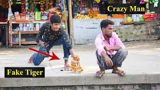 Fake Tiger Vs Man Prank Video - So Funny Man Reaction with Fake Tiger | 4 Minute Fun