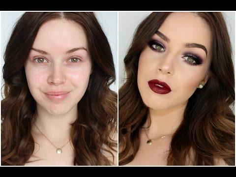 Smokey Burgundy Eyes & Deep Lip, Autumn Makeup Tutorial