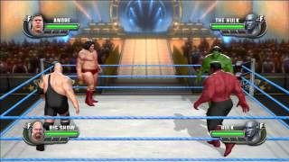 WWE All Stars !!! André Le Géant Vs  Hulk Vs The Big Show Vs Rulk In A Fatal 4 Way Match