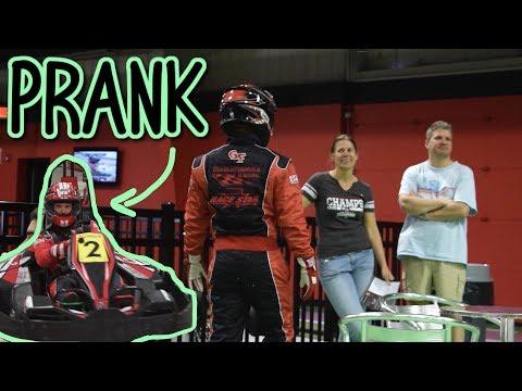 Race Car Driver PRANKS Go Kart Track!!!