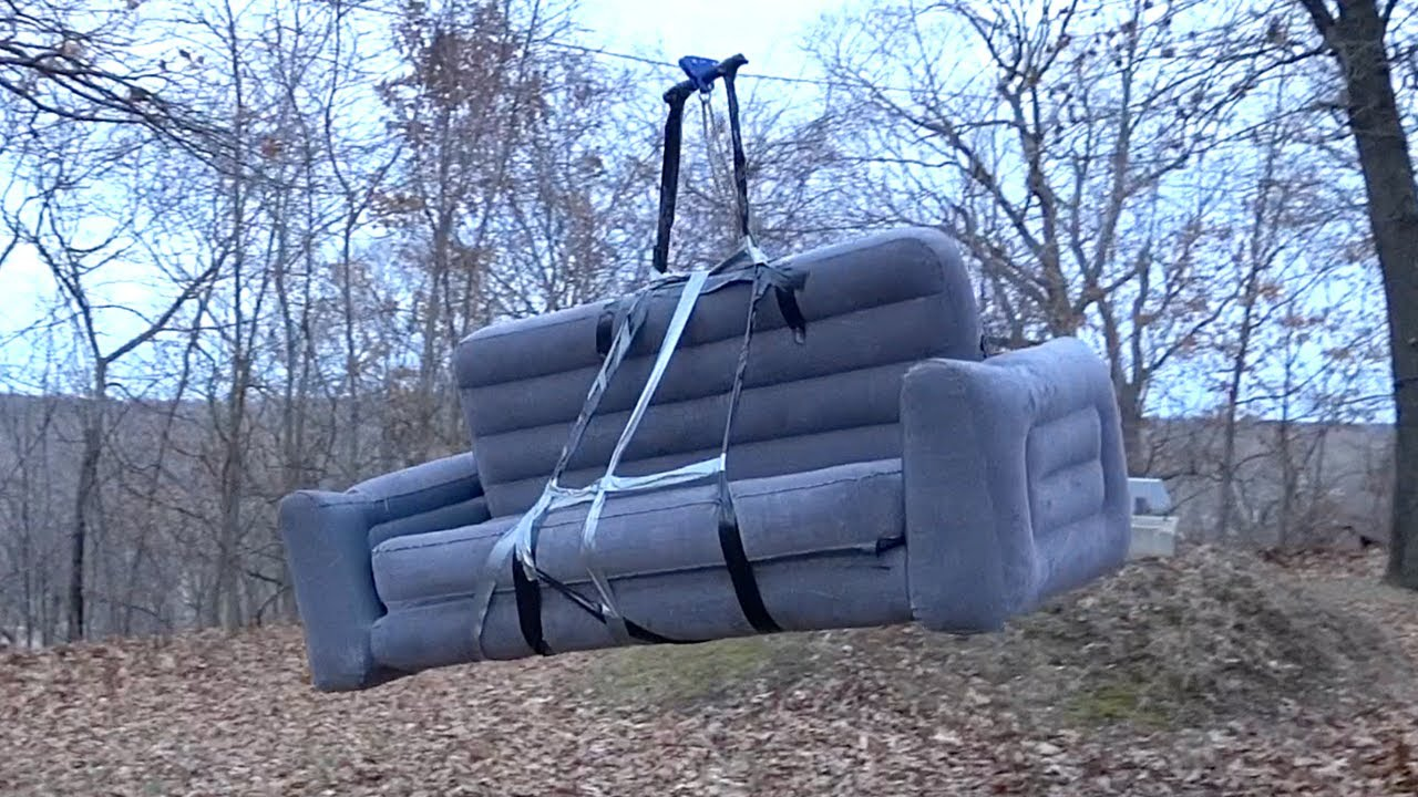 Home Made Backyard Couch Zip-line (INSANE!!!)
