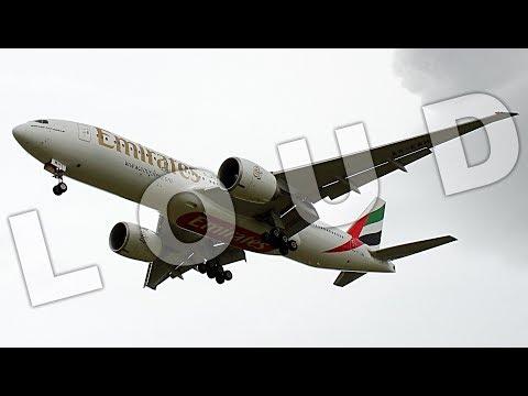 {TrueSound}™ Emirates Boeing 777-200LR LOW Overhead Crosswind Landing at Ft. Lauderdale
