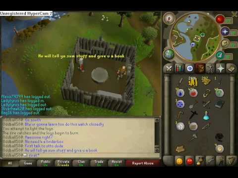 RUNESCAPE: How to start barbarian fishing and fire making.
