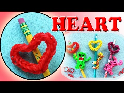 Rainbow Loom Band Heart Pencil Topper Charm | DIY Valentine's Gifts