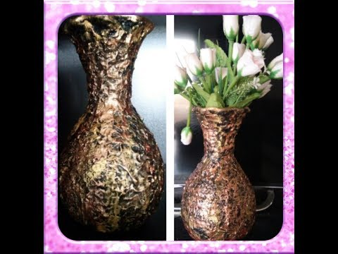 DIY, how to make textured pot with white cement..beautiful and easy to make ,room decor