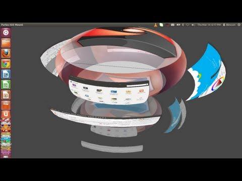 Ubuntu 12.04 - How to set up Transparent Rotating Desktop Sphere and 3D Windows