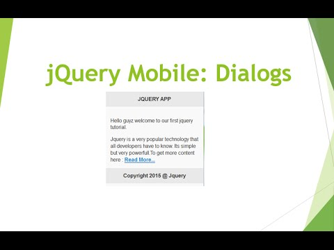 jQuery Mobile 3 : Dialog Pages