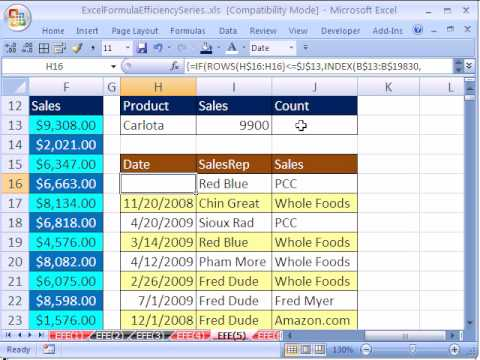 Excel Formula Efficiency 5: Helper Cell Speed Up Calculation