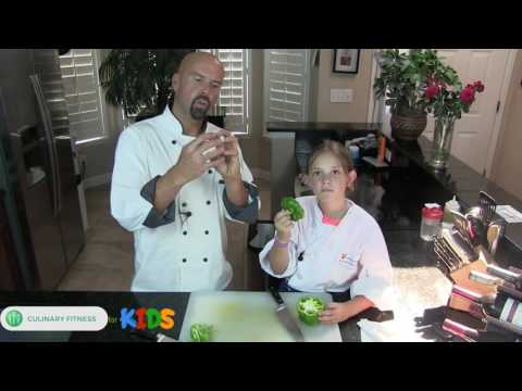 How to cut bell peppers  - Culinary Fitness for Kids with Chef Dennis Berry | Healthy Cooking Videos