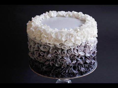 Fondant Ruffle Cake Ombre Style Tutorial- Rosie's Dessert Spot