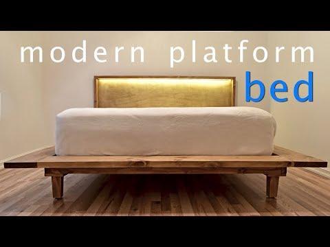 How to Build a Modern Platform Bed w/ Lights - DIY