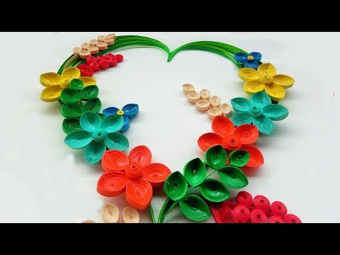 Paper Quilling | How to make Beautiful 🌻flower design ❤ Heart Greeting Card | Paper Quilling Art