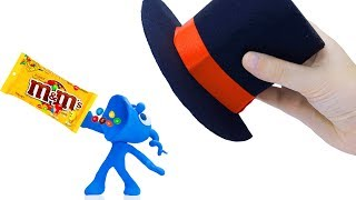 TINY PLAYING WITH MAGICAL HAT || CLAY MIXER Cartoons Play Doh Stop Motion