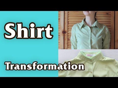 DIY - 10 minutes Shirt Transformation. Stand up collar.