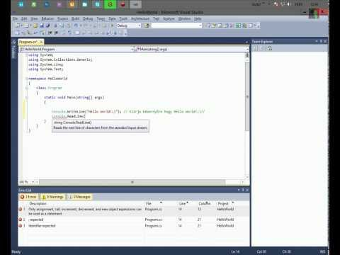 Microsoft Visual Studio 2010 C# Tutorial 1 - Hello World (HD)