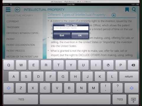 Demo of Patent, Trademark & Copyright app on iPad