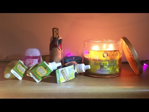 Sparkling Pear Riesling Candle Review and Bath & Body Works Wallflower Haul