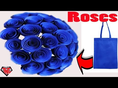 How To Make Rose Out of Carry Bags || DIY Shopping Tote Bags Rose