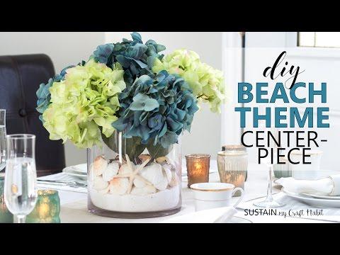 DIY Beach Theme Centerpiece || Coastal Wedding, Bridal Shower Decor