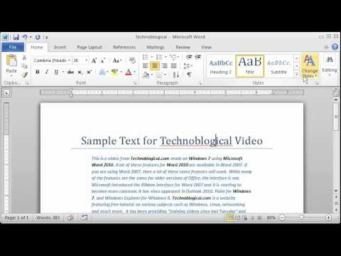 Word 2010: Paragraph Styles