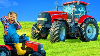 Tractor and Farm Animals Pretend Play Stories with Toys for Kids