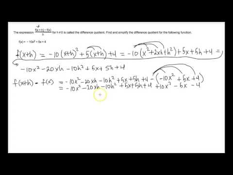 Evaluate Difference Quotient - Polynomial Example