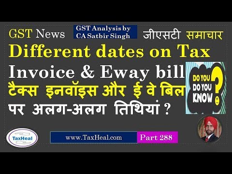 Two different dates on Tax Invoice & Eway bill allowed ? GST News 288