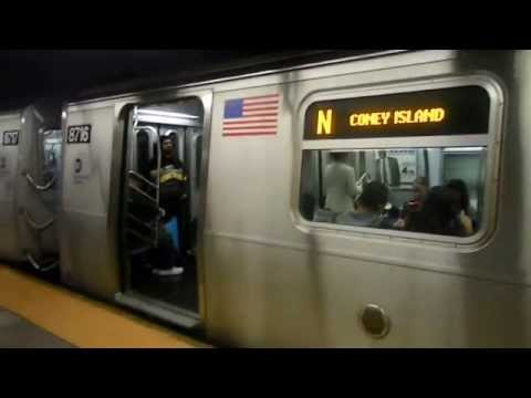 New York City Subway: Coney Island bound R-160B on (N) @ Times Square-42 Street