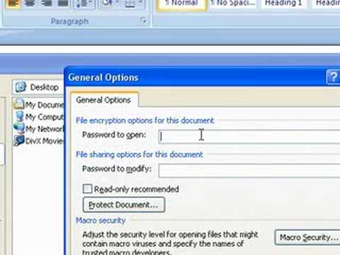 CREATE A PASSWORD FOR MICROSOFT WORD, EXCEL, POWERPOINT 2007
